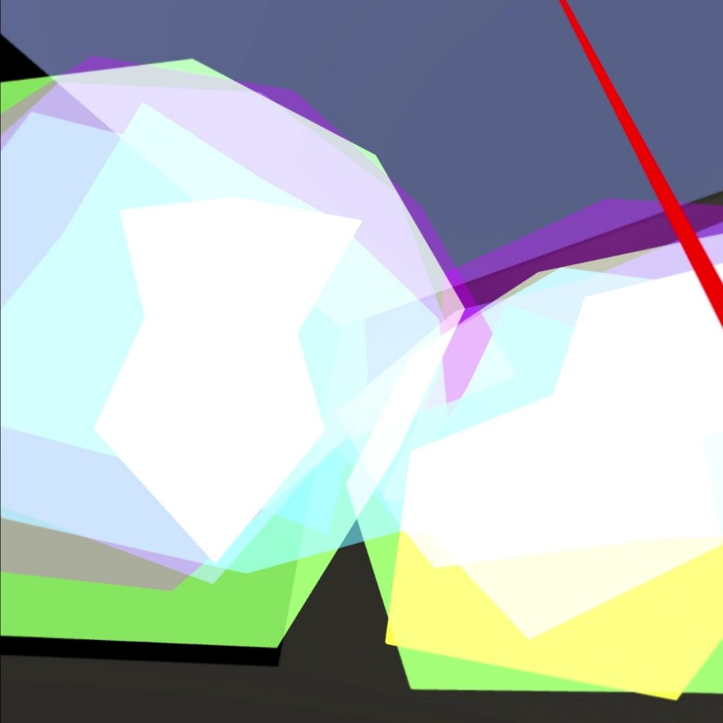 overlapping irregular coloured shapes with straight sides. The additive effect of the colours makes white in the centre. Around the edges where the colours dont overlap shows as varying colour. Yellow and green and purple.